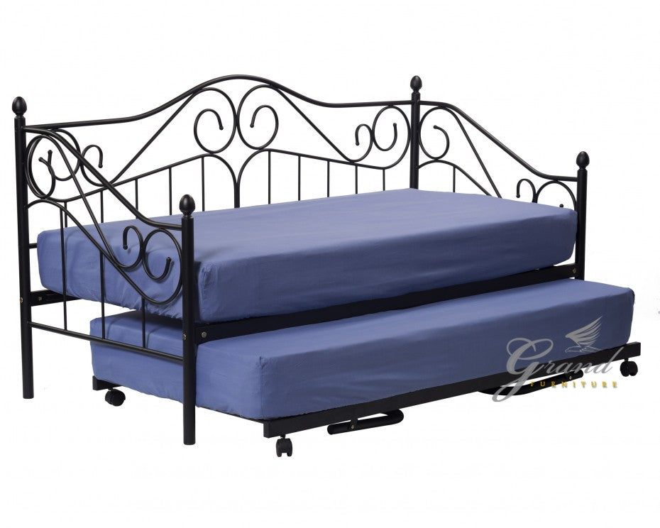 Ava 3FT Black Metal Day Bed with Trundle