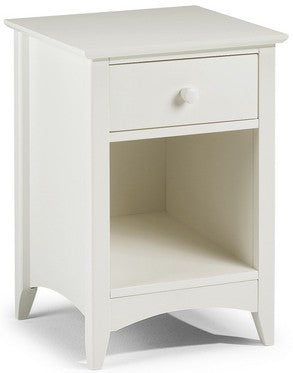 Cameo Stone White 1 Drawer Bedside Table