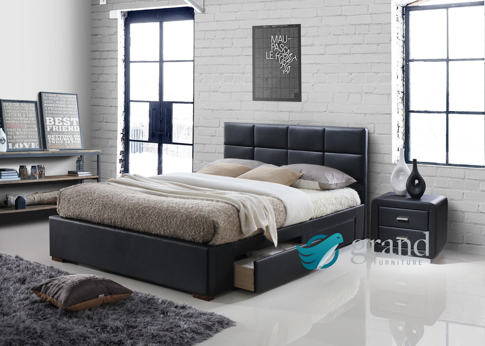 Vermont 4 Drawer Storage Leather Bed in Black