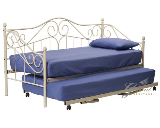 Ava 3FT Cream Metal Day Bed with Trundle
