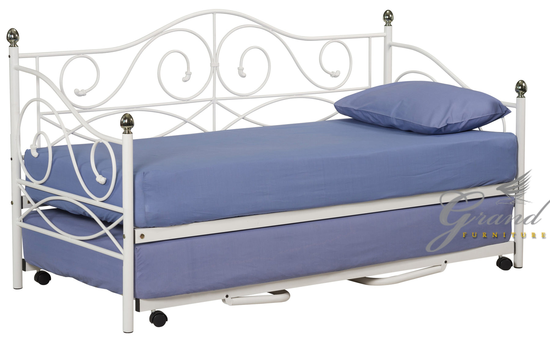 Rio White Day Bed with Trundle