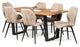 Florence Industrial Style Solid Oak Dining Table with Chairs Metal Farmhouse Dining Set