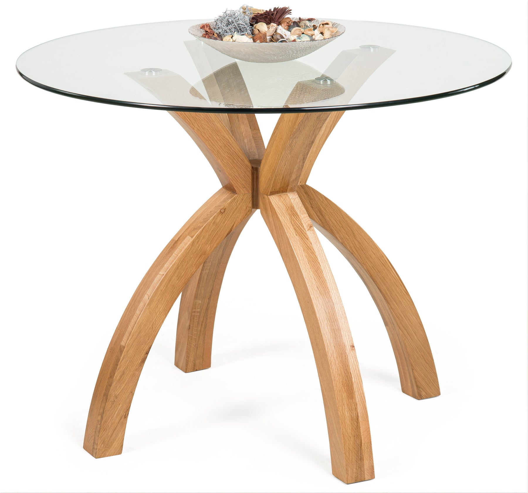 Phoenix Solid Oak Glass Dining Table