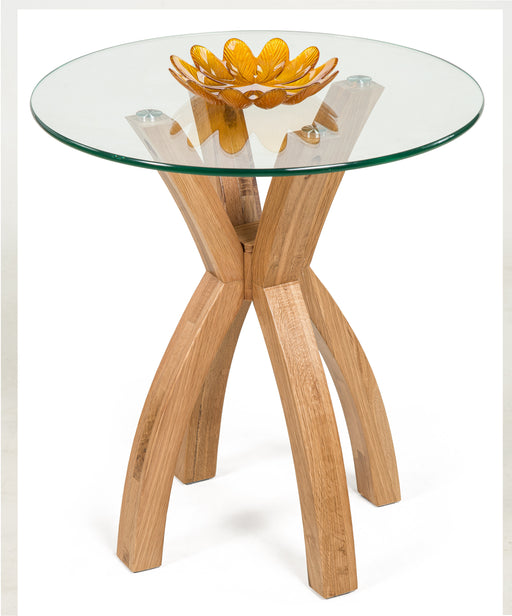 Phoenix Solid Oak Glass Lamp Table