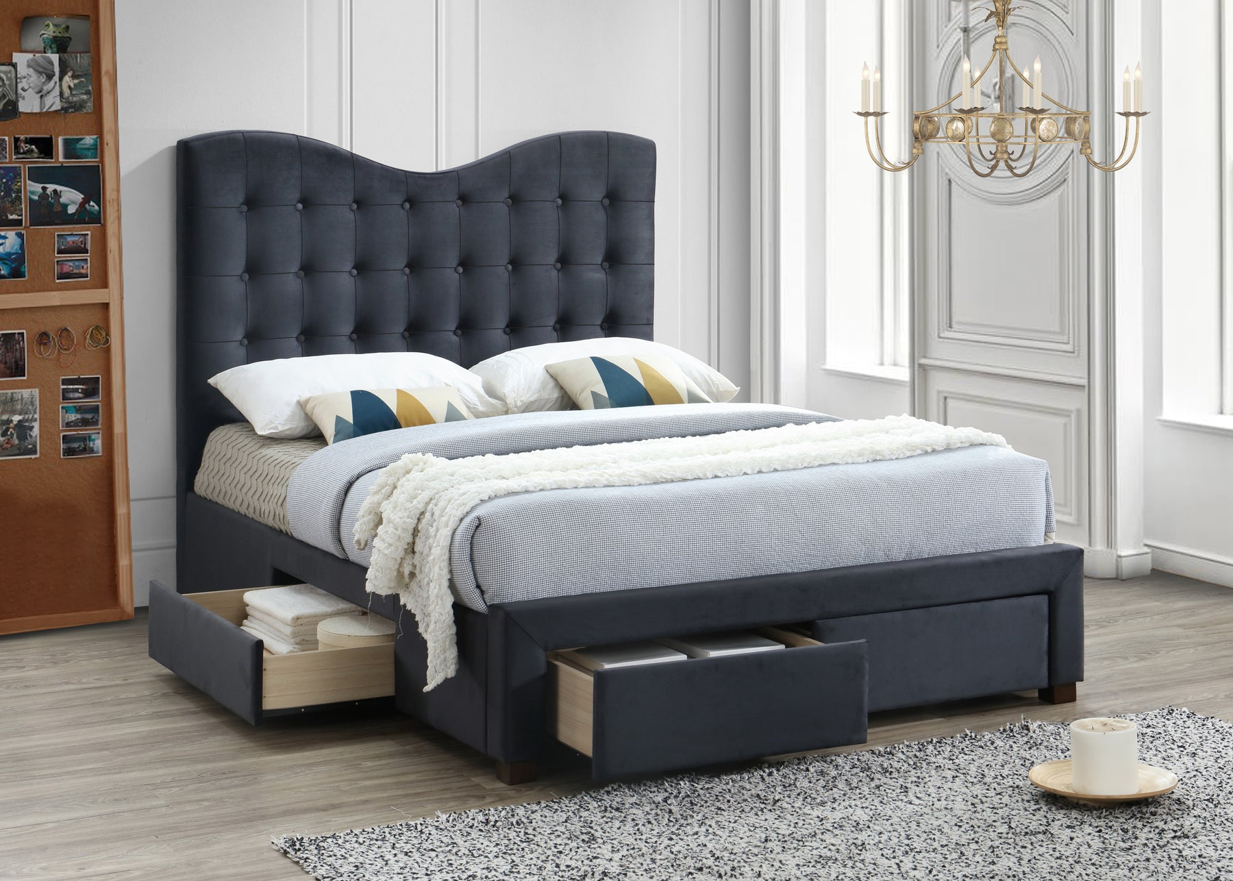 Manhatten Fabric 4 Drawer Bed