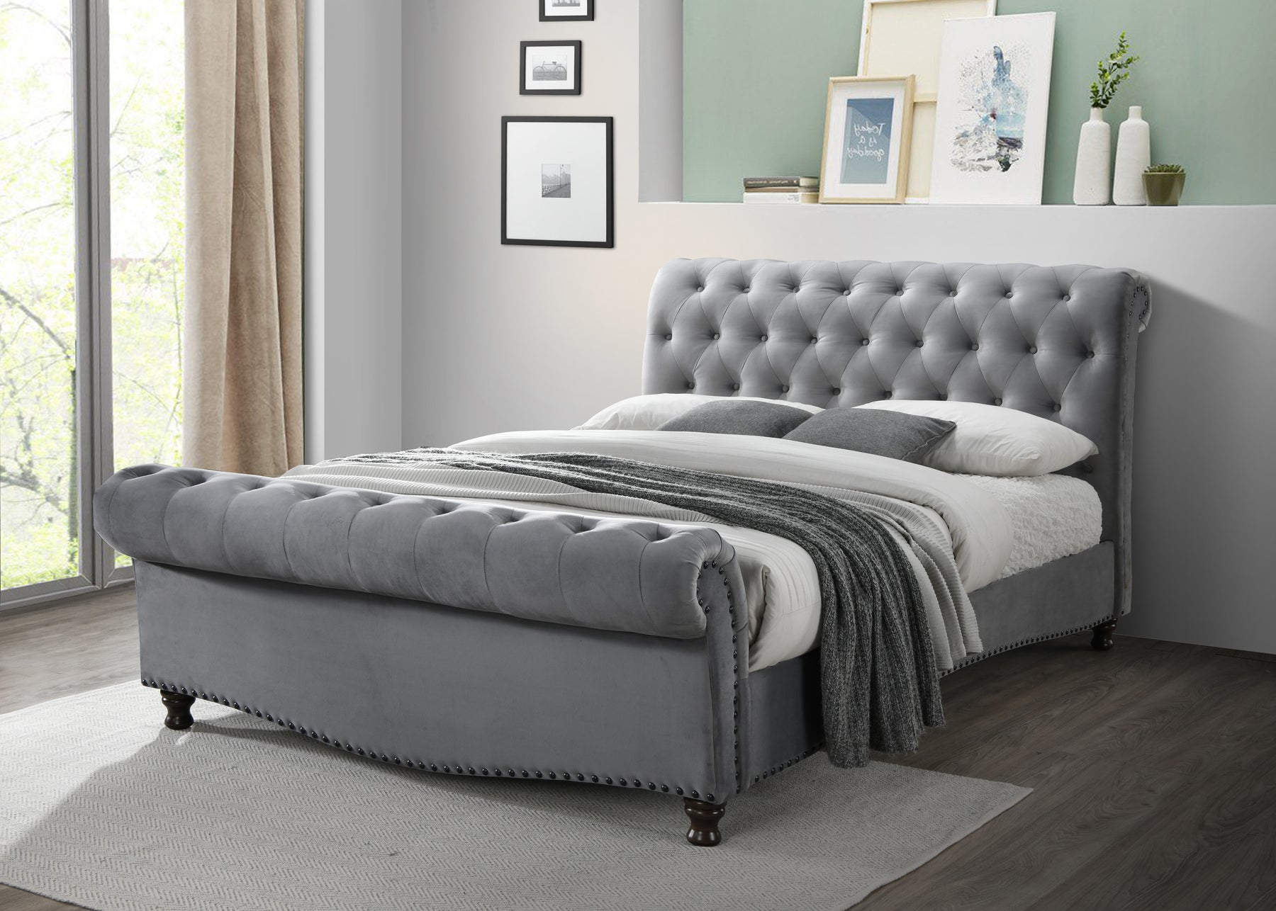 Verona Sleigh Style Fabric Bed Upholstered in Light Grey