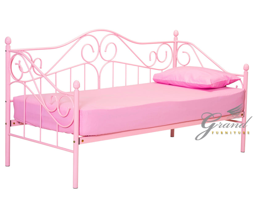 Ava 3FT Pink Day Bed Metal frame with Pull up Trundle