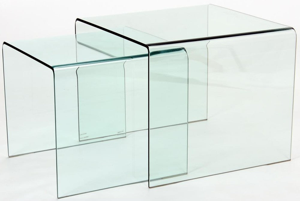 Angola Contemporary Glass Nest of Tables