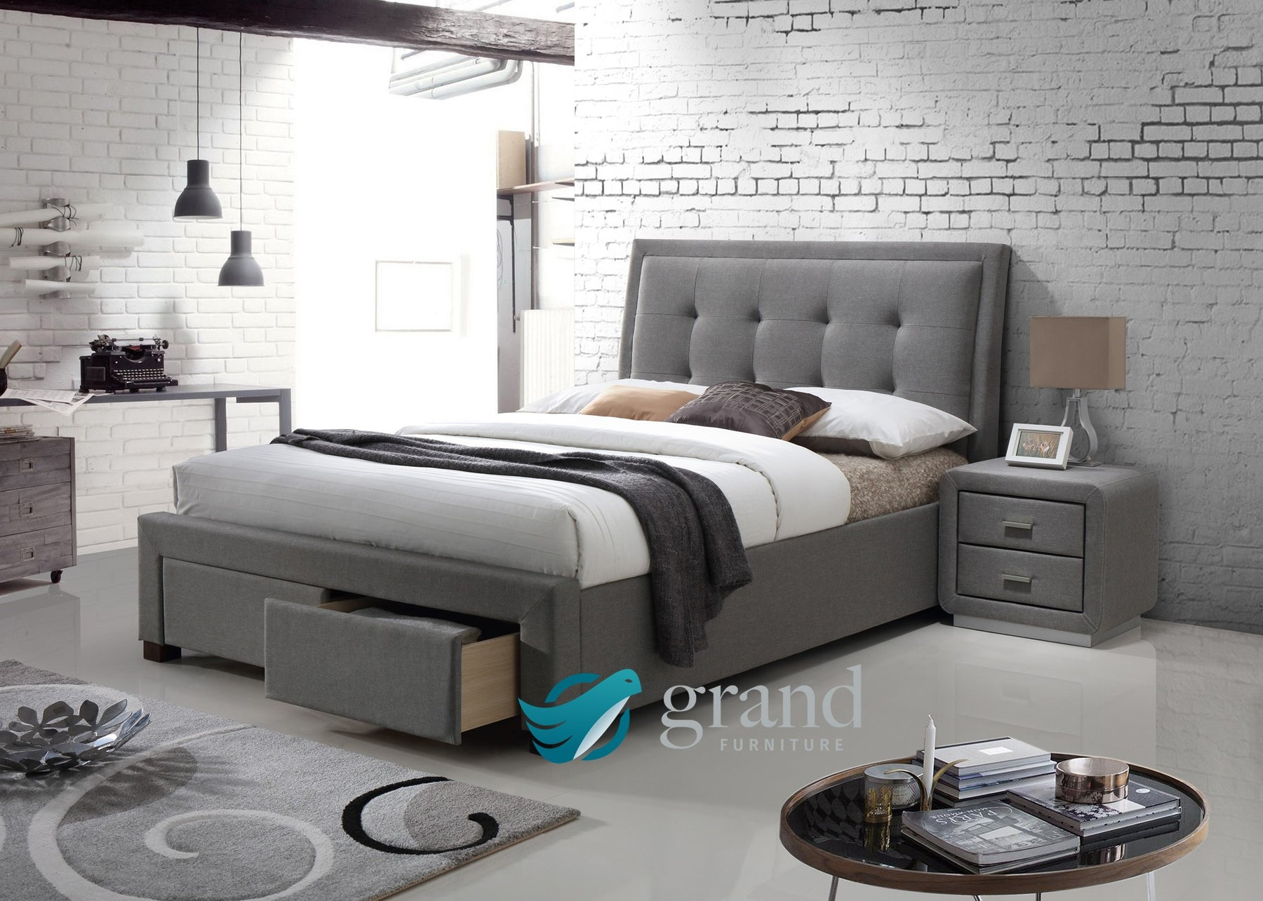 Denver Upholstered Storage Bed in Charcoal and Light Grey
