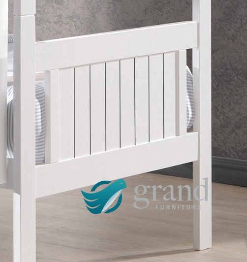 Milan Shaker Style Wooden Bunk Bed White Natural