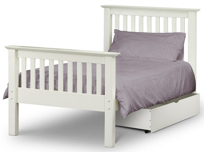Barcelona White Wooden High Foot End Bed Frame
