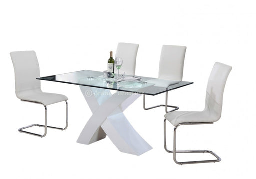 Arizona White High Gloss Glass Dining Table with 4 Chairs Set
