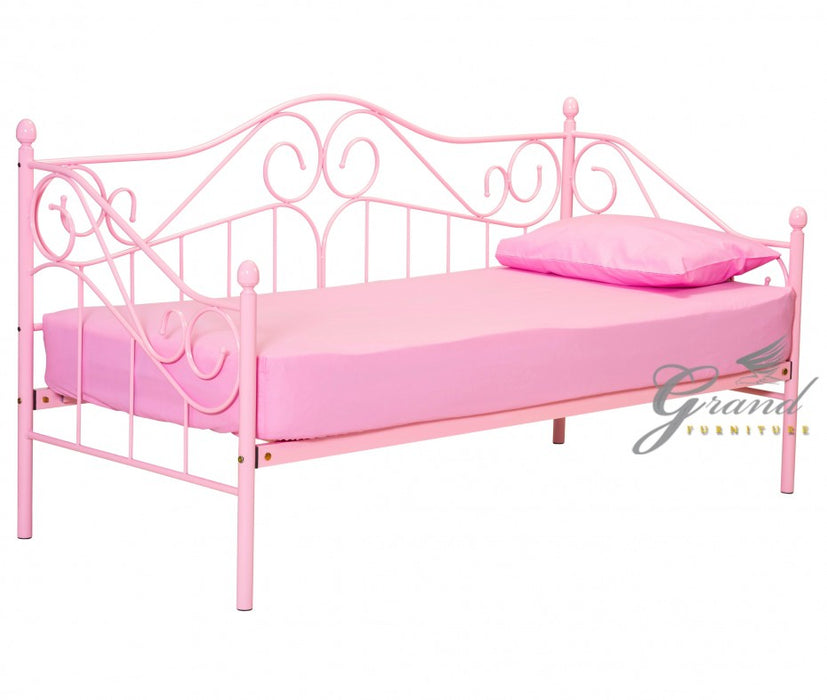 Ava 2FT6 Small Single Pink Metal Day Bed