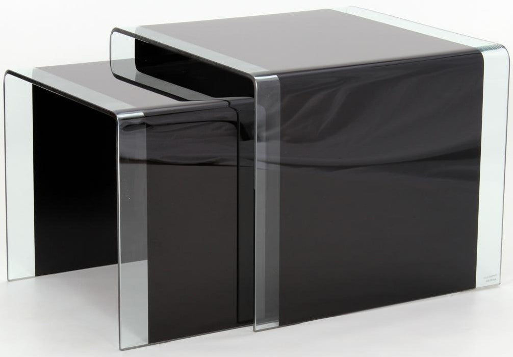 Angola Modern Black Glass Nest of Tables