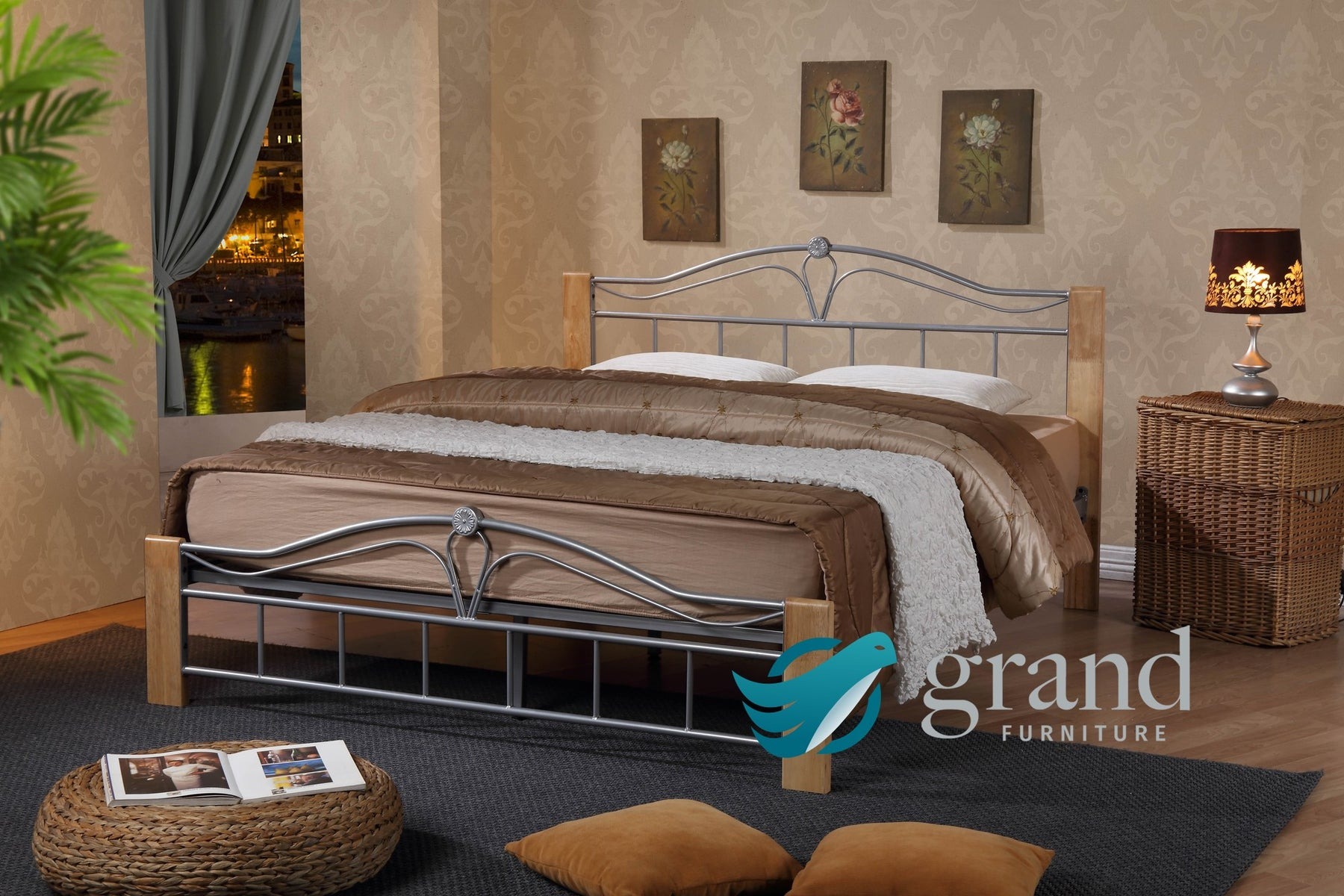 Thiago Silver Bed Frame Natural Wood Silver Metal Bed Grand Furniture