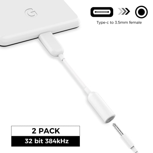 2 Pack 32-bit USB C to 3.5mm Headphone Adapter