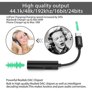 USB C to 3.5mm Headphone Charger 2 in 1 Adapter