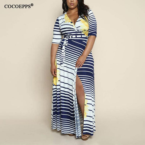 fcbbe8c01876 ... Women Boho Striped Maxi Dresses-Blue Or Yellow Pattern - Dresses ...