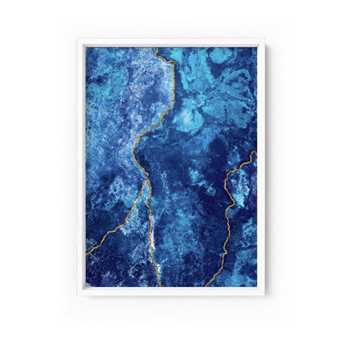 Agate Geode Lapis Lazuli V1 (faux gold lines) Print