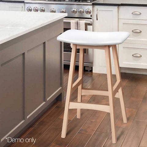 Artiss Set of 2 Beech Wood Bar Stools - White
