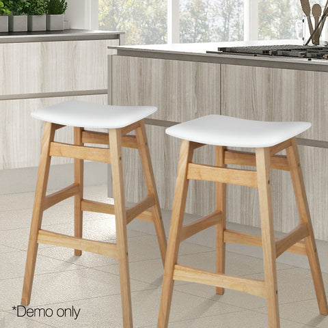 Artiss Set of 2 Wooden and Padded Bar Stools - White