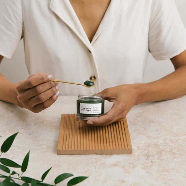 the sunday standard superfood cleansing balm with giftable brass spoon