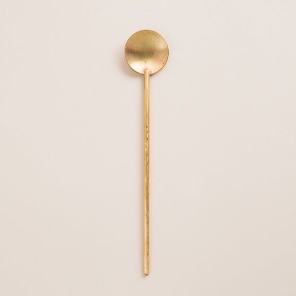 Brass cosmetic spoon for use with superfood cleansing balm by the sunday standard