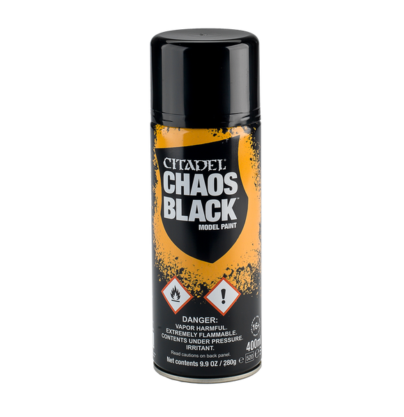 Chaos Black Spray 62-02-80 Games Workshop Warhammer 40K Age Of Sigmar Citadel Spray Can GW