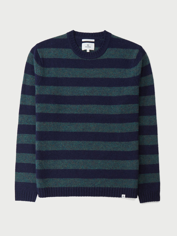 Roxen Navy Lambswool Stripe Crew Neck