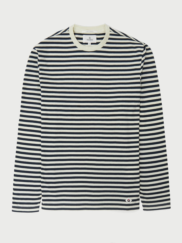 Axelsson Navy Long Sleeve Stripe Breton T-Shirt