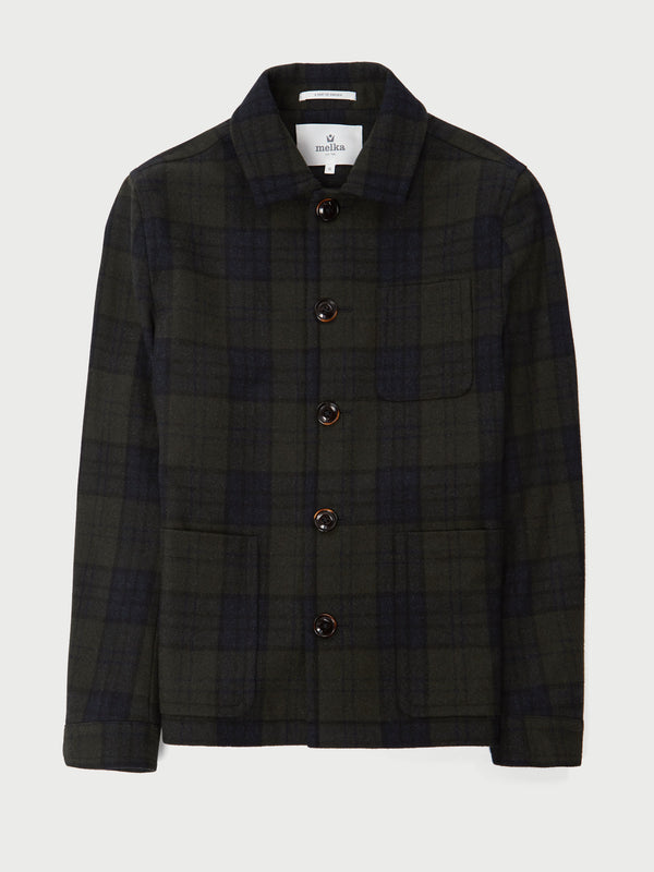Ursholmen Green Wool Blend Check Jacket
