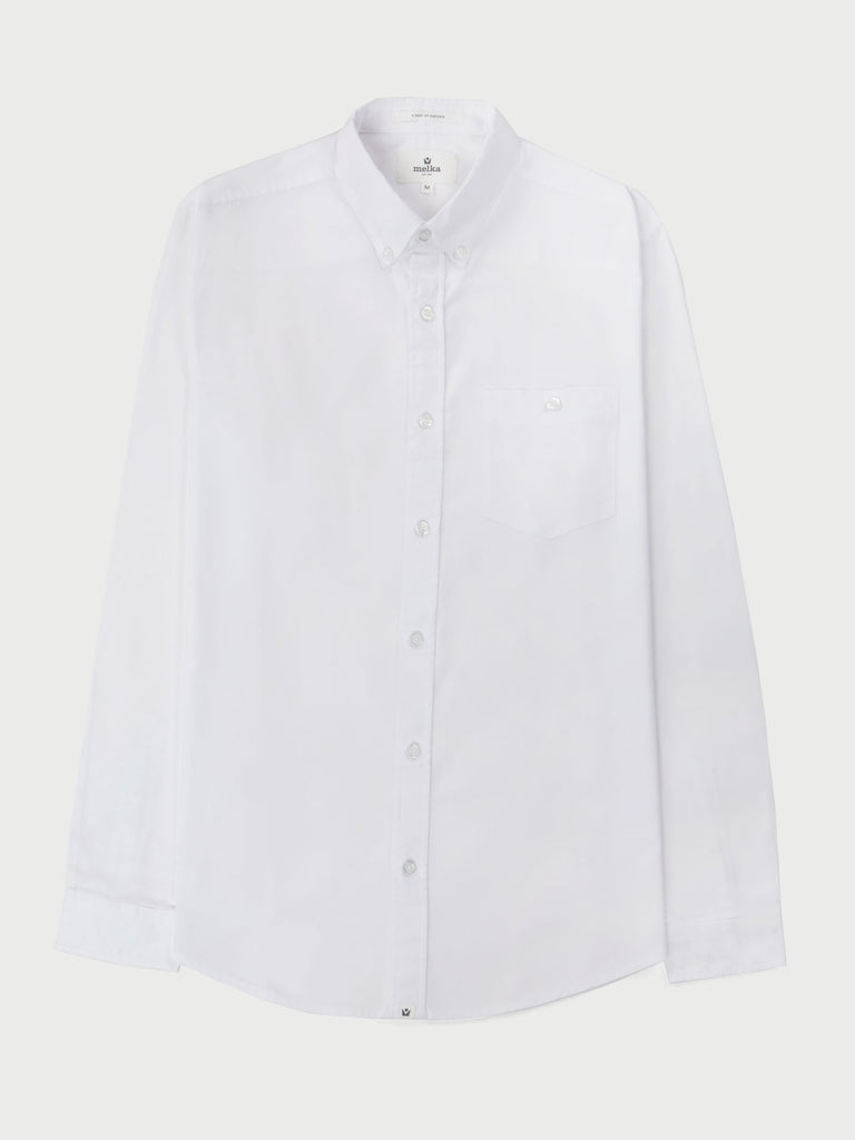Molkom White Long Sleeve Plain Oxford Shirt