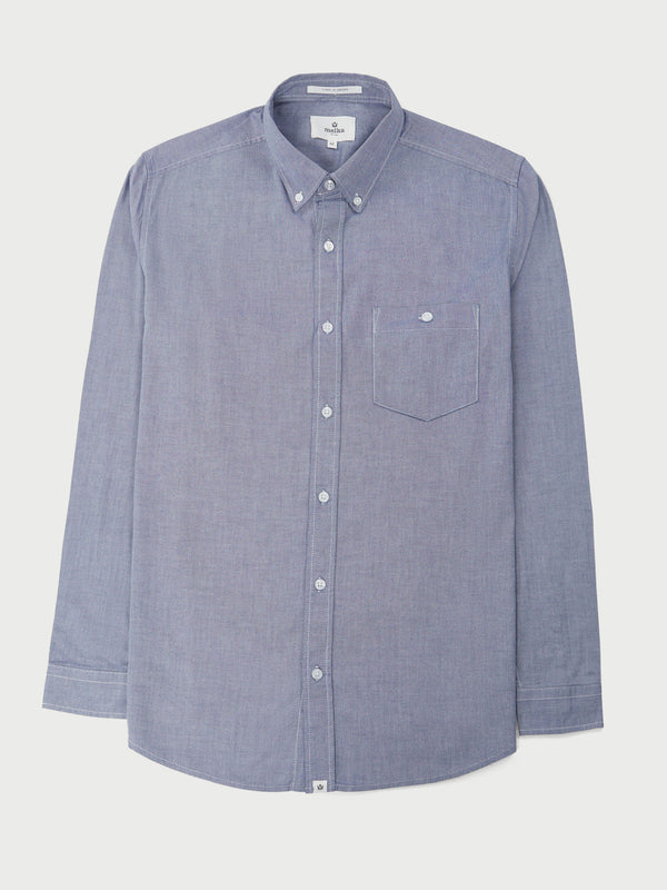 Molkom Navy Long Sleeve Plain Oxford Shirt