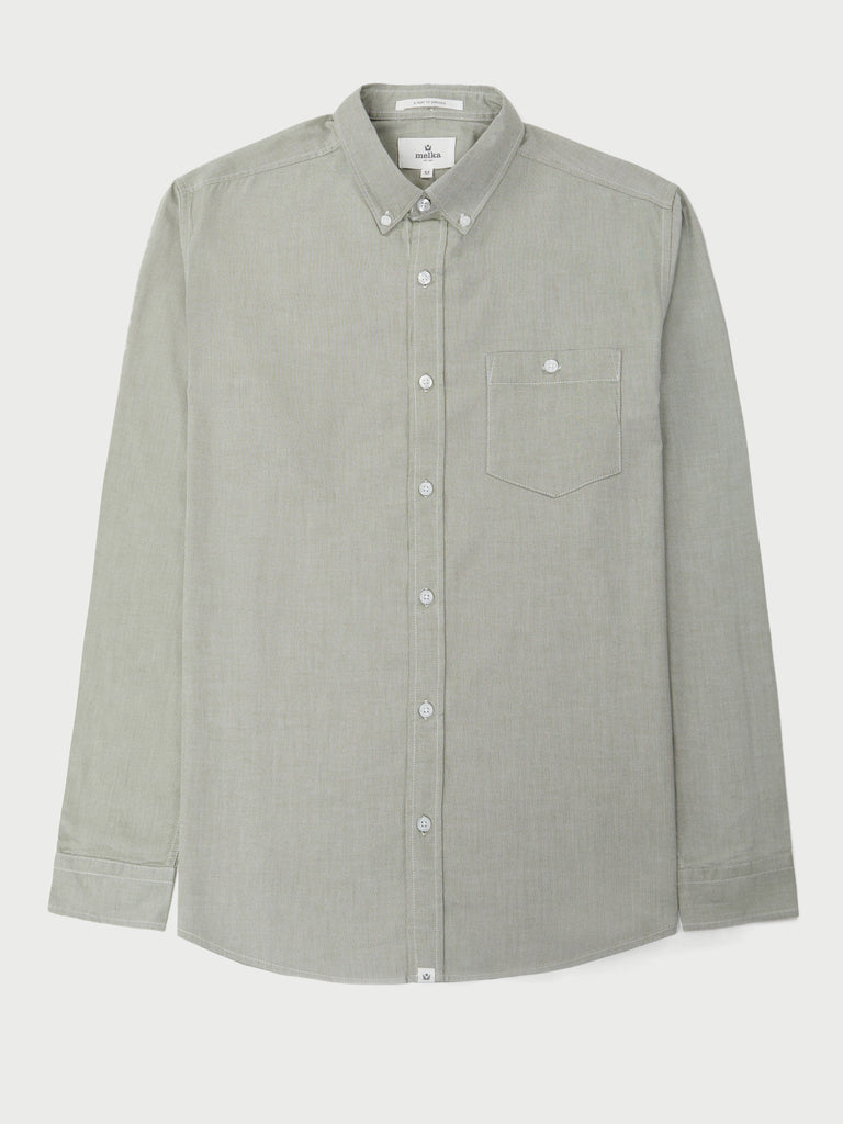 Molkom Green Long Sleeve Plain Oxford Shirt