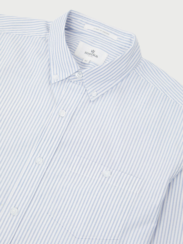 Alster Blue Long Sleeve End On End Stripe Shirt