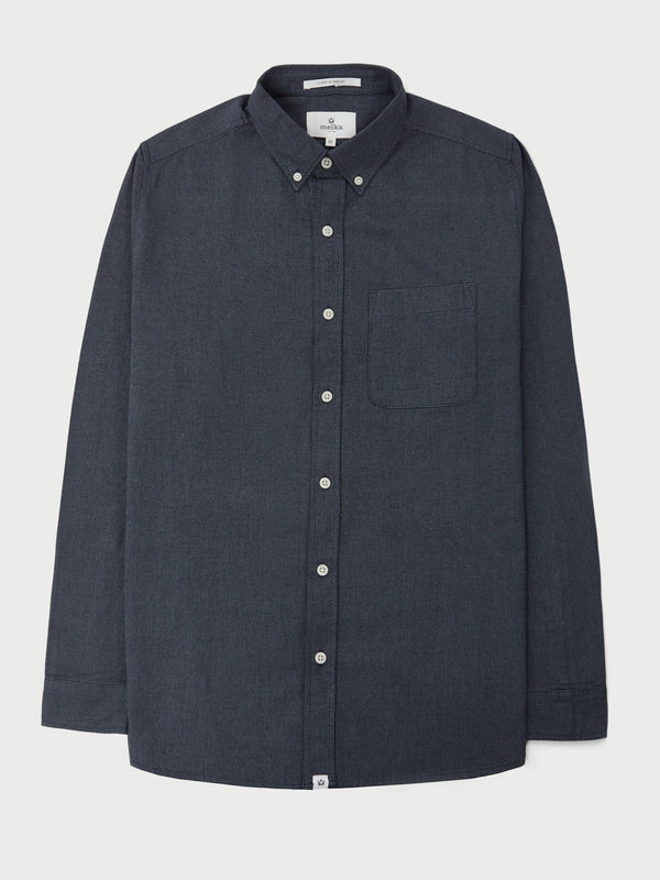 Maltan Navy Long Sleeve Semi Plain Shirt