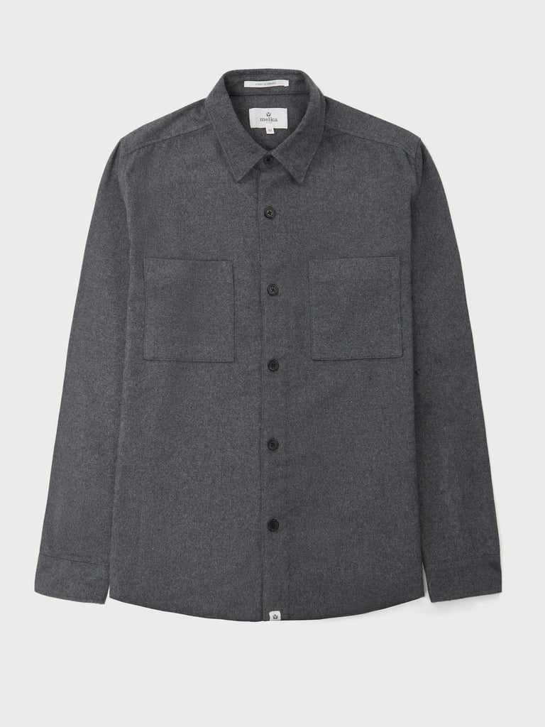 Uppsala Grey Long Sleeve Plain Flannel Shirt