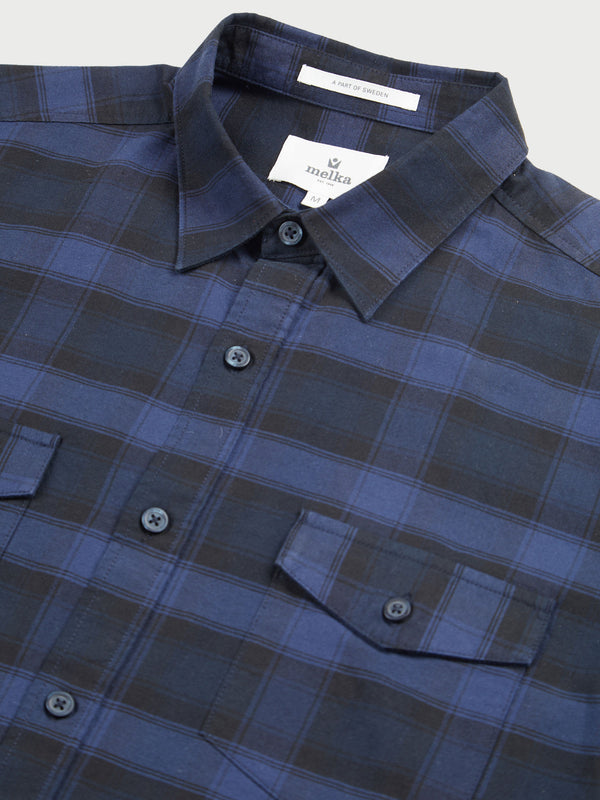 Kiruna Navy Long Sleeve Mid Scale Check Shirt