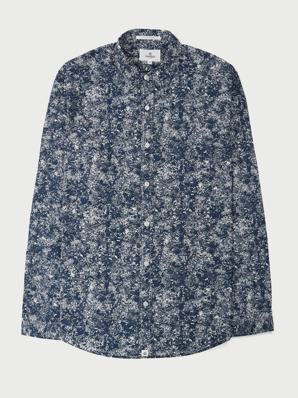 Sundsvall Navy Long Sleeve Abstract Dandelion Print Shirt