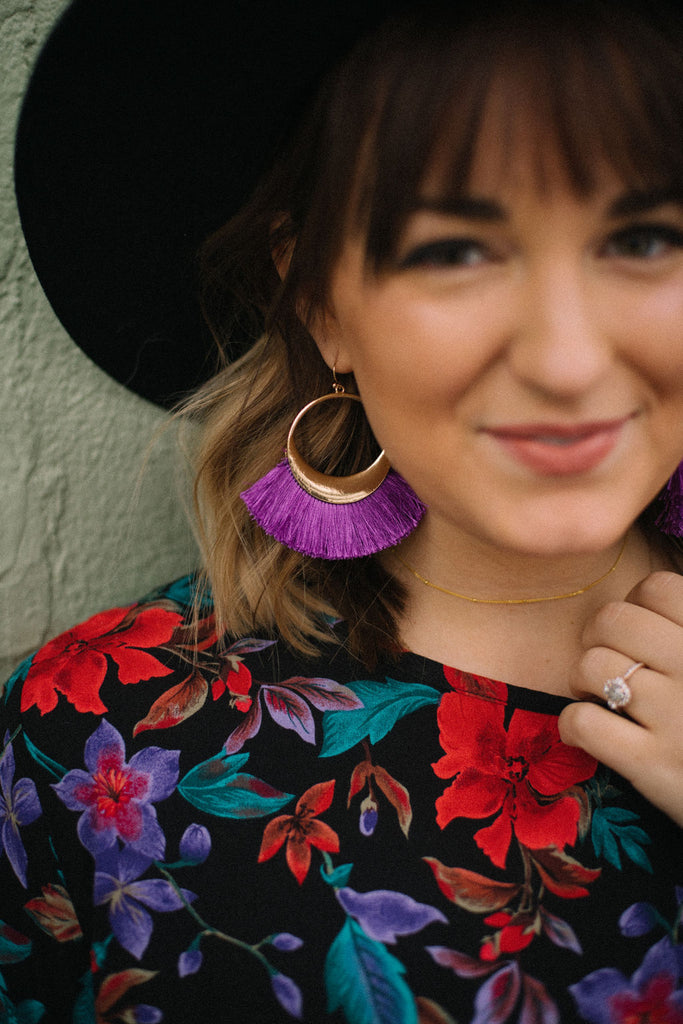Purple Girl Tassel Earrings