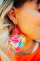 Flamingo Party Hearts Earrings