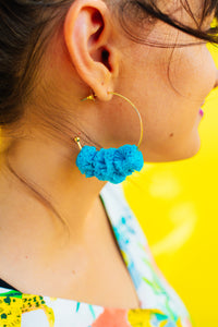Electric Blue Pom Hoops