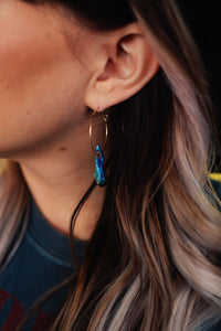Alchemy Crystal Hoops **Iridescent Blue