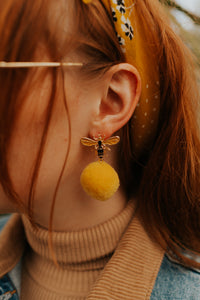 Bee Kind Pom Pom Earrings