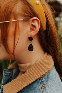 Black Badger Geode Drop Earrings
