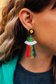 Psychadelic Alien Queen Drop Earrings