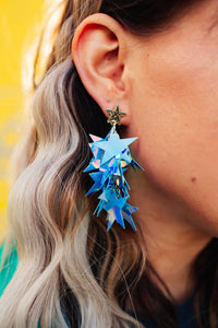 Iridescent Star Queen Drop Earrings