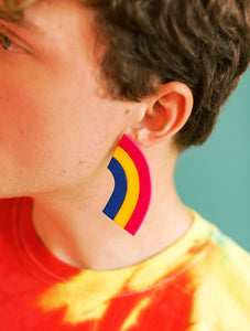 Pride Flag Rainbow Statement Studs** HANDMADE