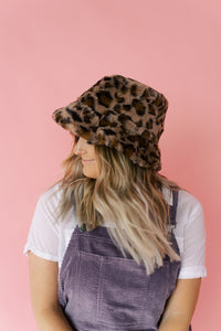 Furry Leopard Bucket Hat