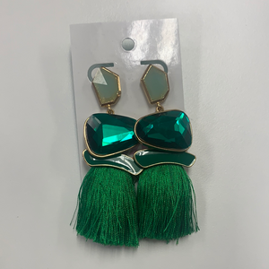 emerald and green tassel earrings